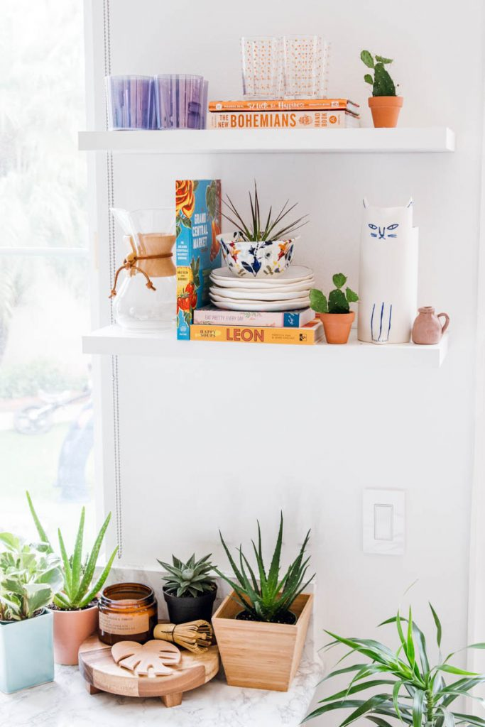 white kitchen shelving anthropologie kitty pitcher the sill plants loloi runner