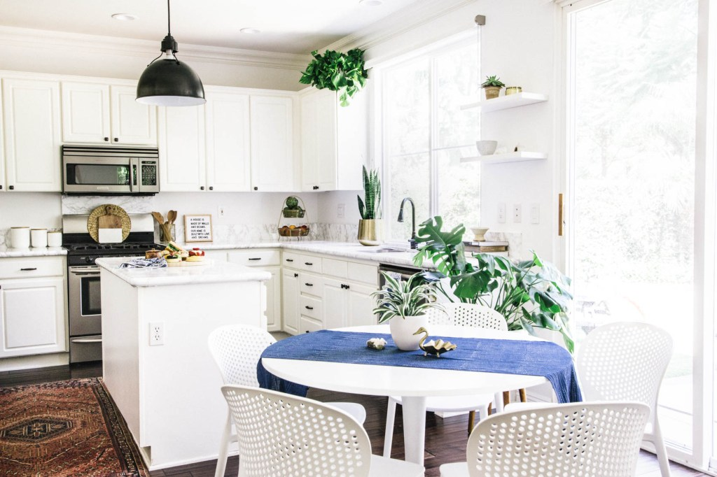 white kitchen eclectic decor vintage rug