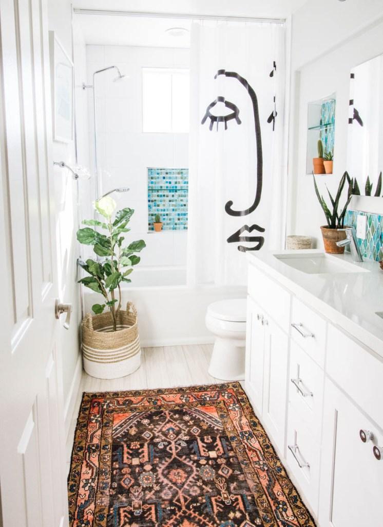 white bathroom vintage rug target shower curtain