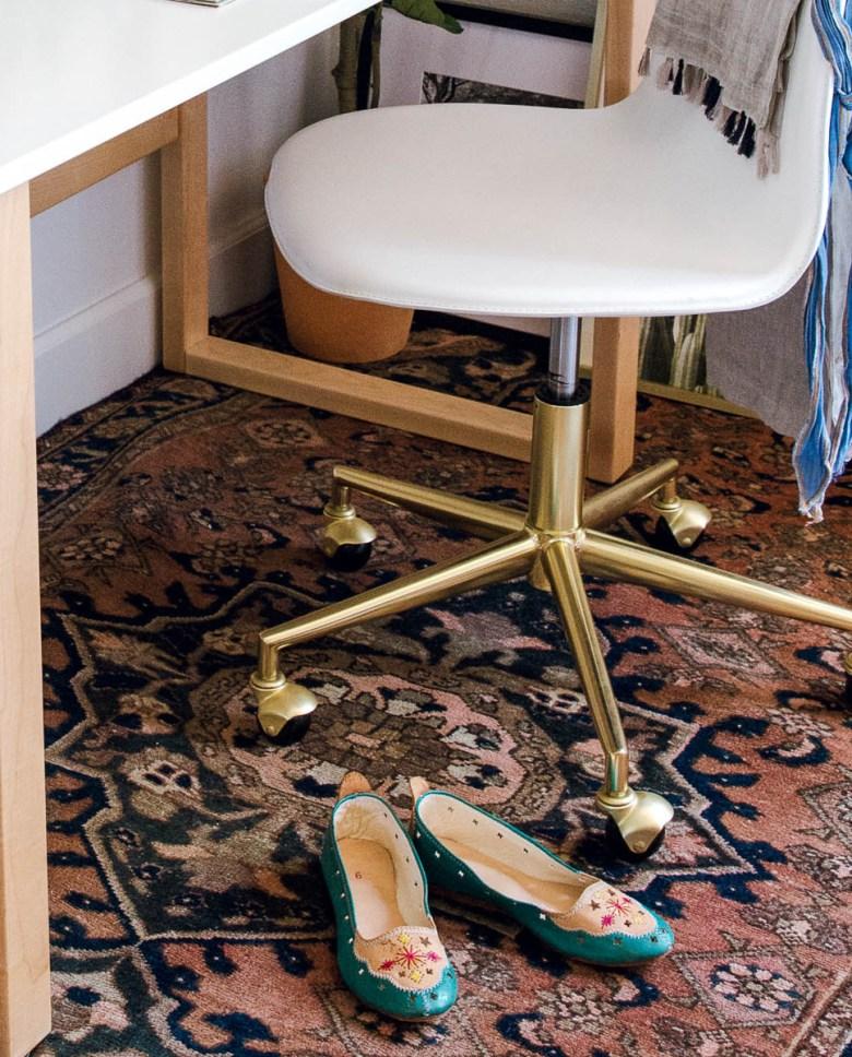 crate kids desk chair, vintage rug, morrocan shoes