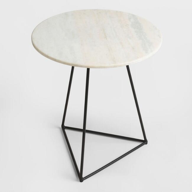 world market round marble black table