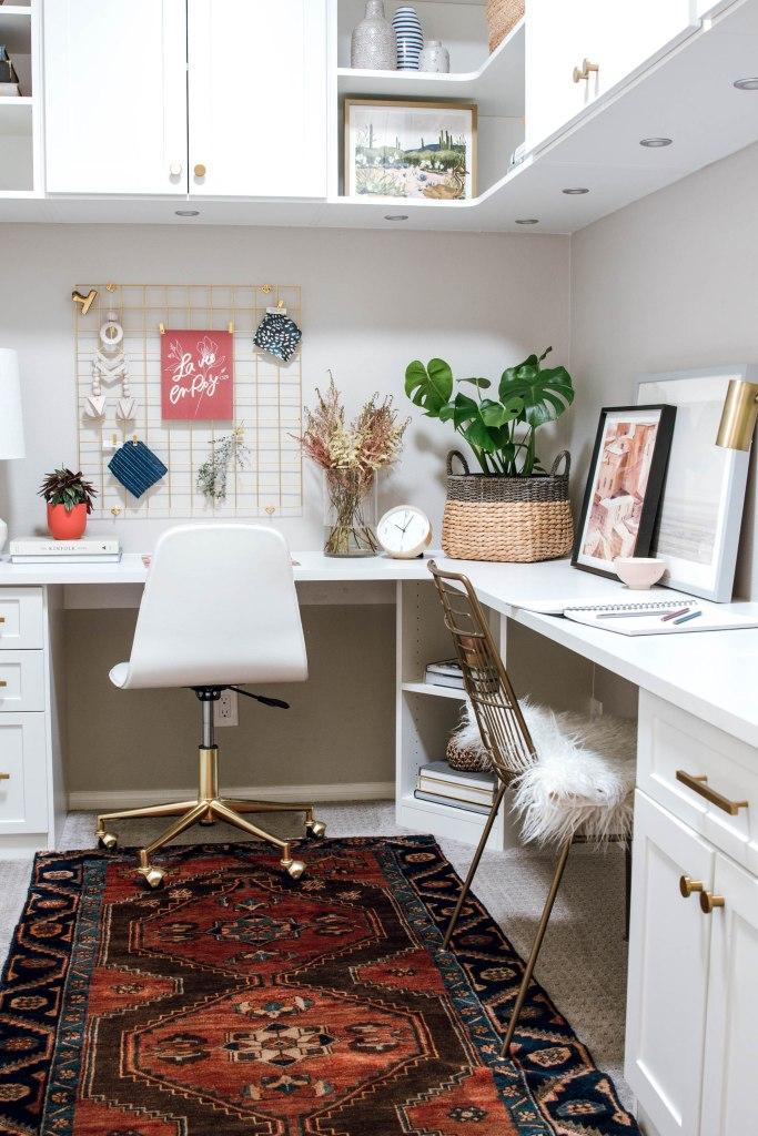 white cabinets brass hardware vintage rug Velux sun tunnel