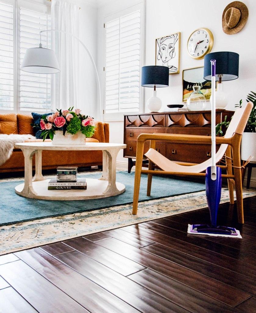 Swiffer wood floors layered rugs mid century modern credenza