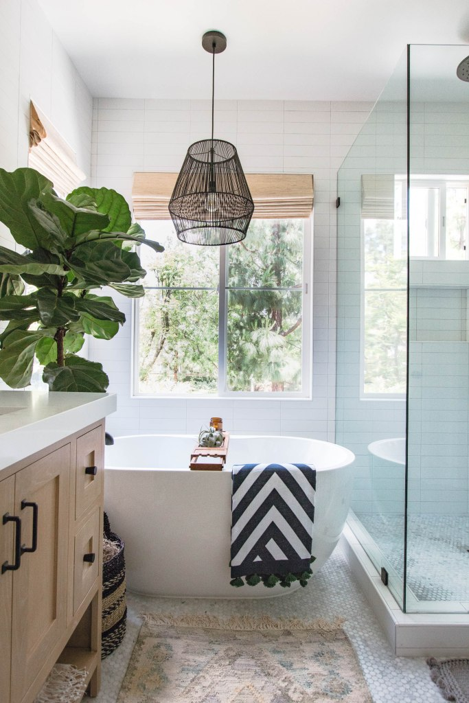 coastal bathroom woven pendant glass shower white oak vanity