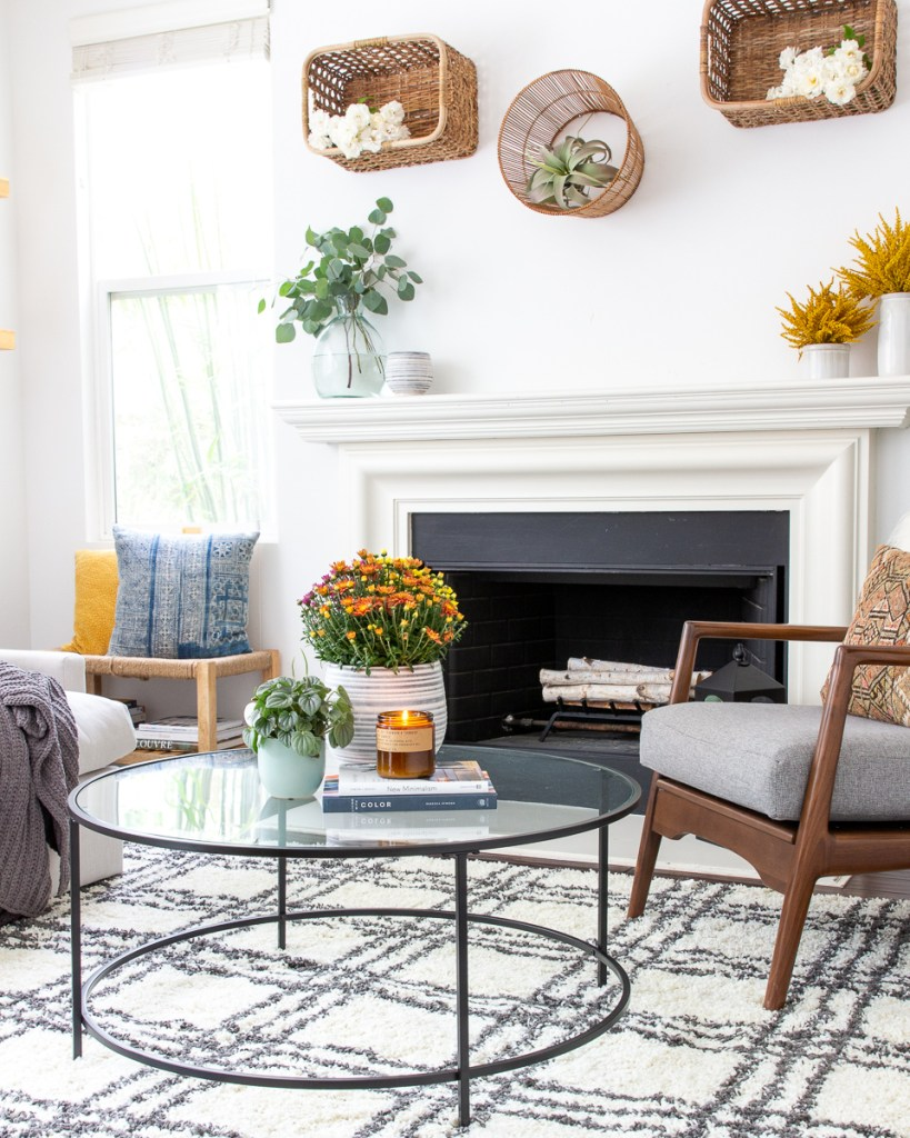 fall family room decor Walmart target mid century modern baskets on wall