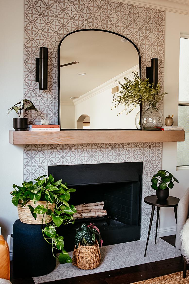 DIY Tiled Fireplace