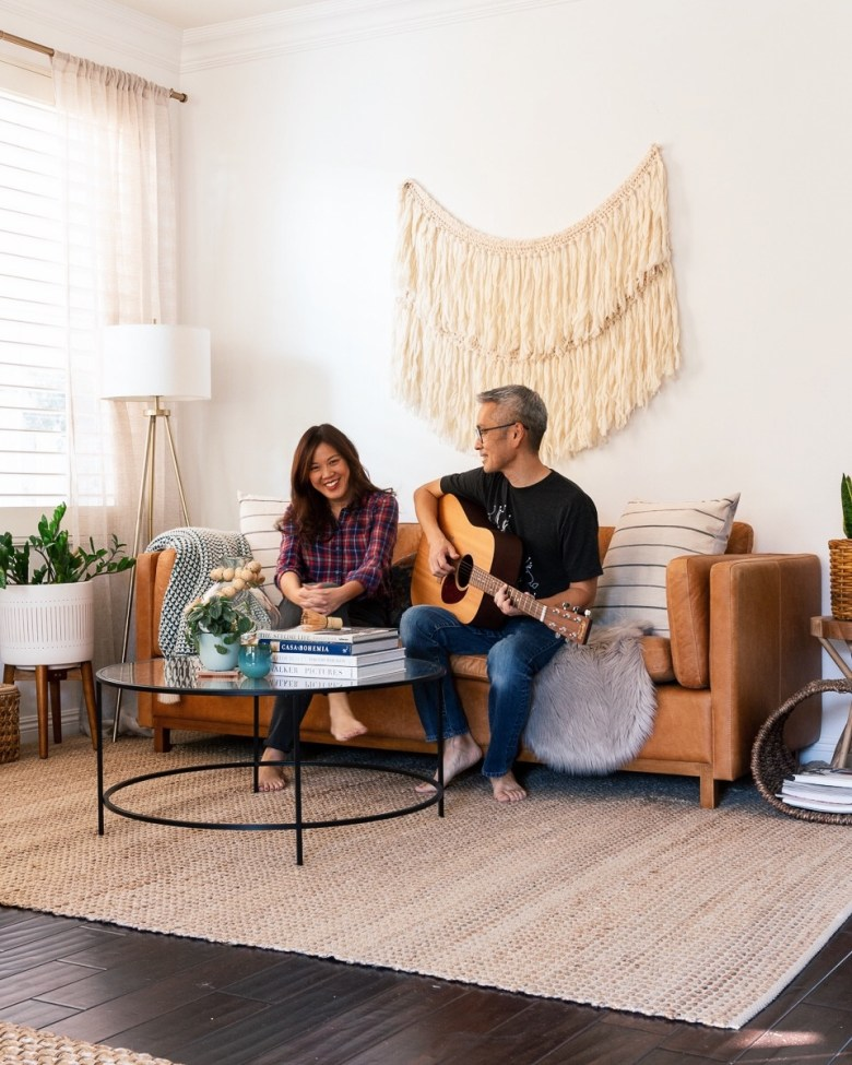 anita yokota method living room boho decor guitar