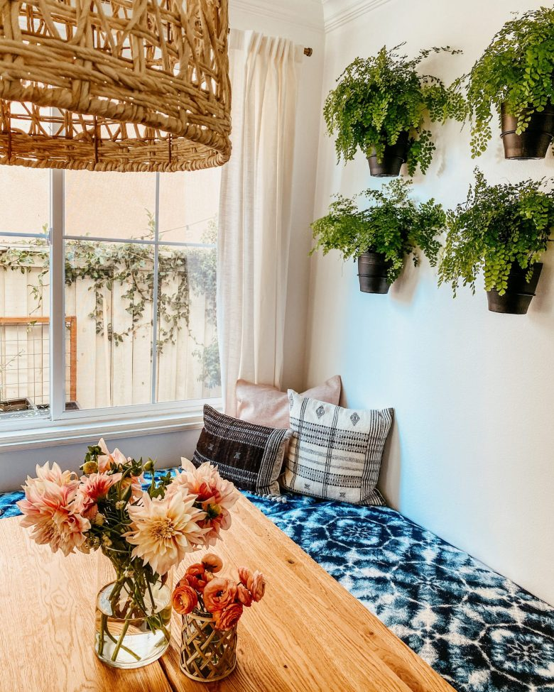 DIY banquette bench seating dining plants living wall