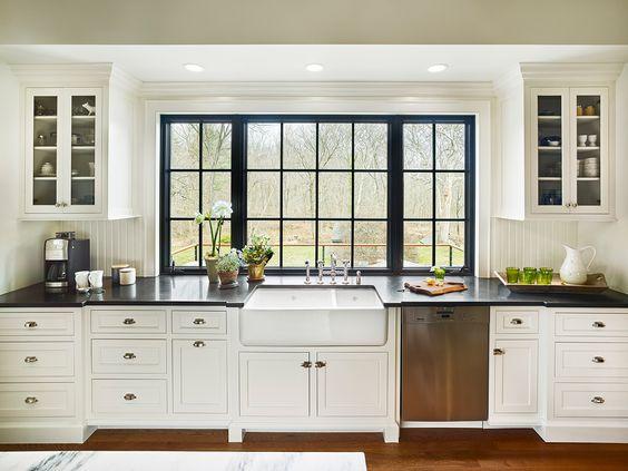 Black trim on kitchen windows