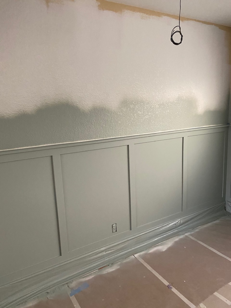 Painting the wainscotting SW Oyster Bay green