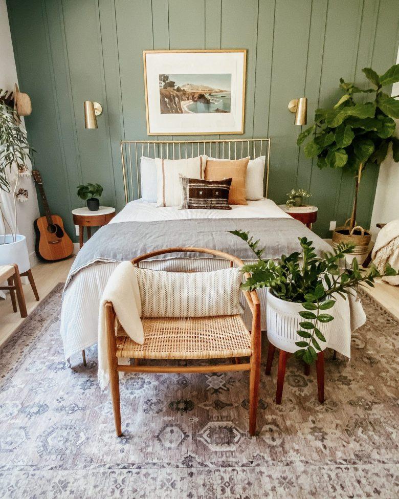 Our master bedroom's DIY board & batten wall in SW Underseas Green