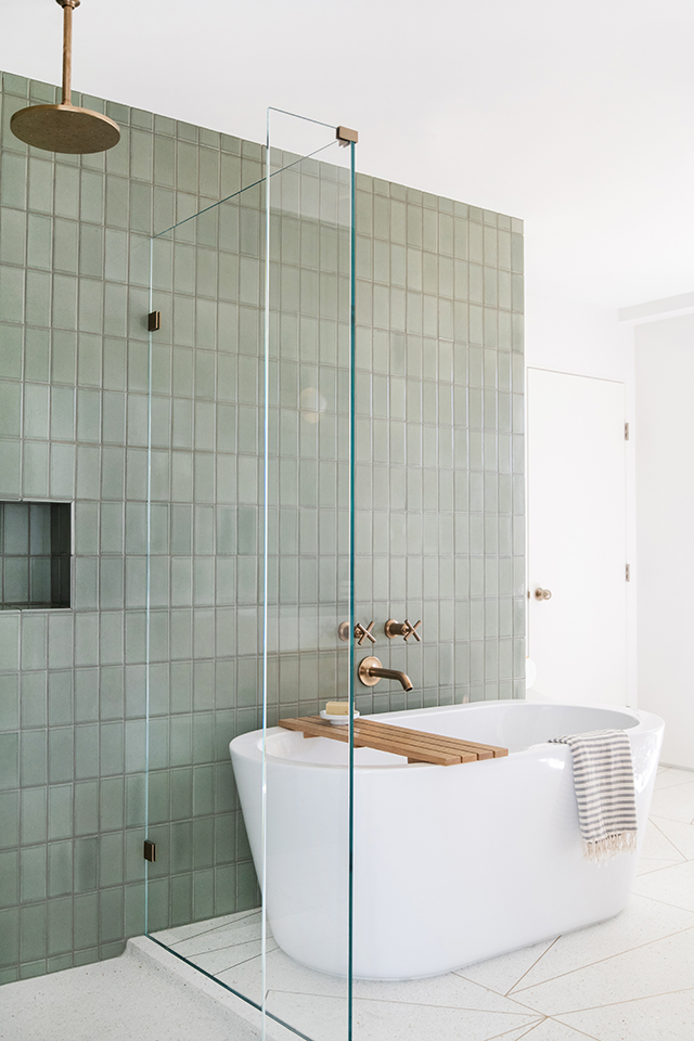 Mandy Moore's sage green bathroom tile around the tub