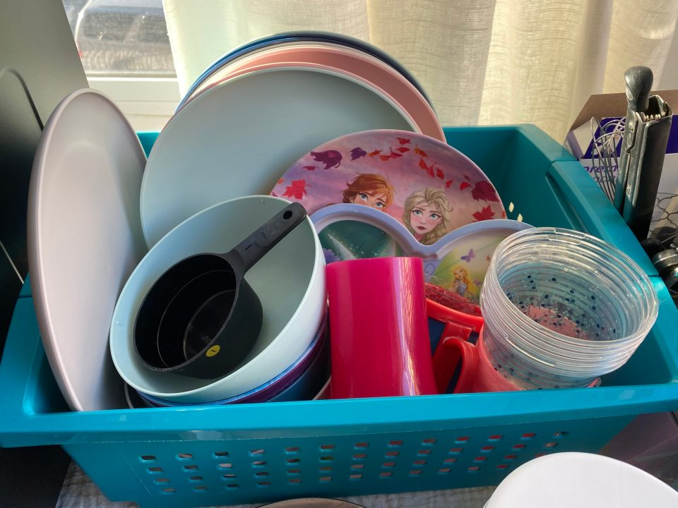 A bucket of old plastic ware to keep us functioning!