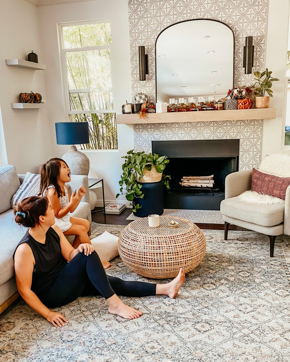 Anita and Natalie share a moment in the family room