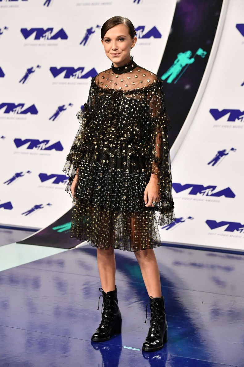 Mandatory Credit: Photo by Rob Latour/REX/Shutterstock (9028015bp) Millie Bobby Brown MTV Video Music Awards, Arrivals, Los Angeles, USA - 27 Aug 2017