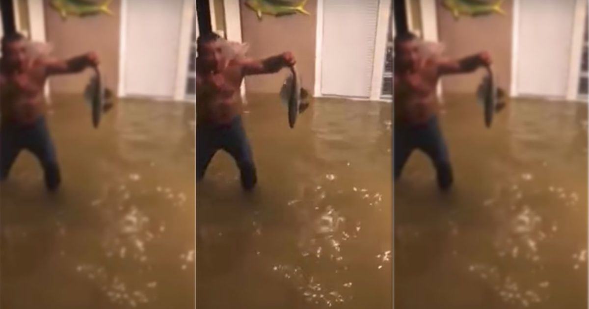 Man Catches A Fish With His Bare Hands Inside His Flooded Home Anith