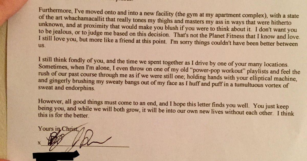 Man writes heartfelt breakup letter to his gym to end his