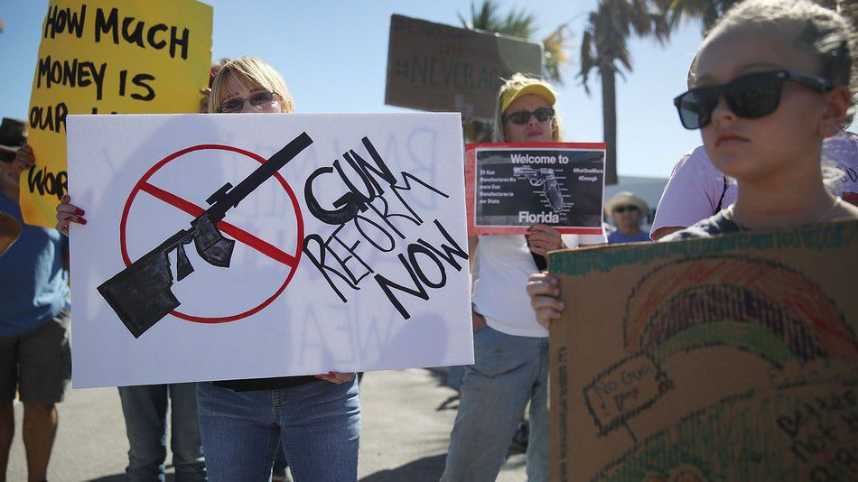 Protesters in Florida call for gun reform after the mass shooting at Marjory Stoneman Douglas High School last month.