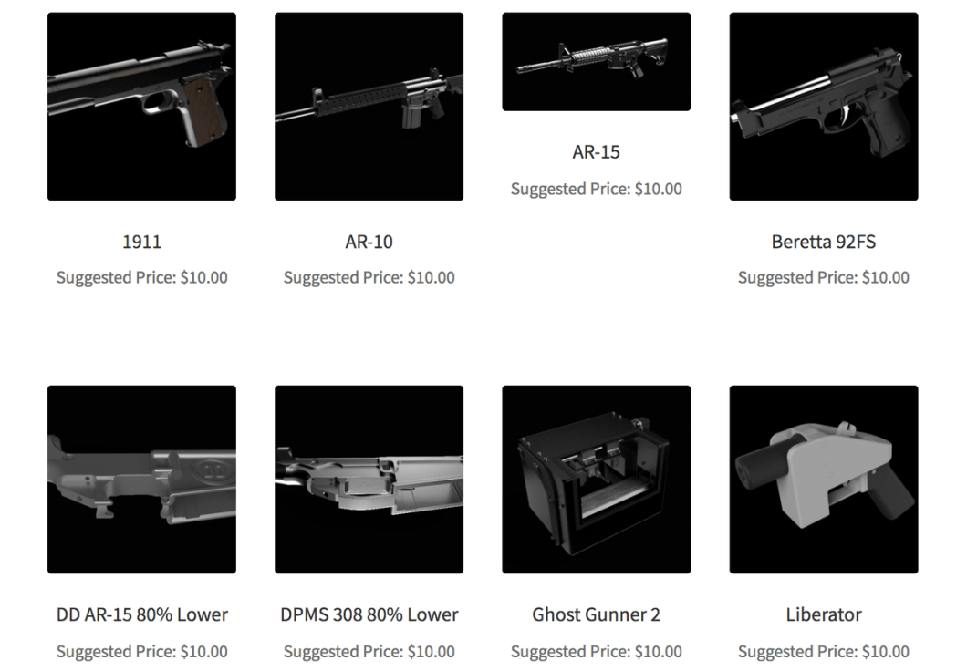 A screenshot of some of the 3-D gun files available for purchase from Defense Distributed.