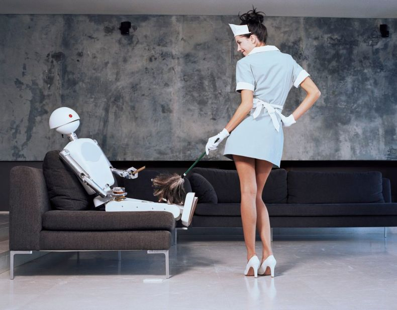 Yes, the robot is drinking scotch and enjoying a cigar on the couch, but at least it's not masturbating.