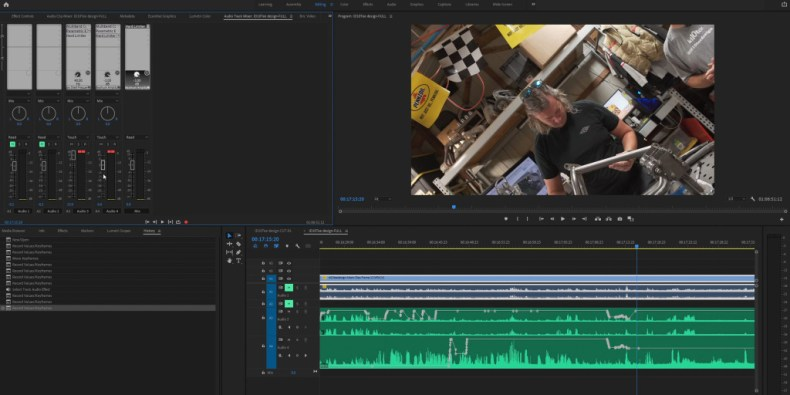 Adding keyframes to track audio is easy in Premiere Pro thanks to the SSL UF8