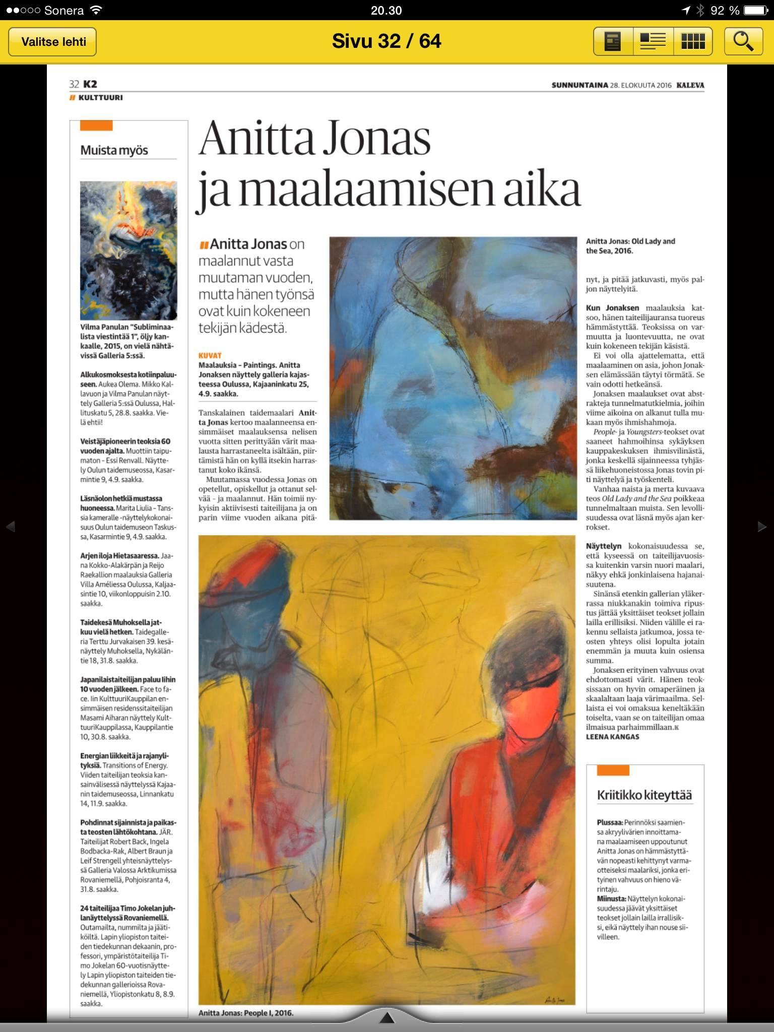 Art Review in the Finnish newspaper Kaleva