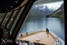Filming from the bridge in Norwegian fjords