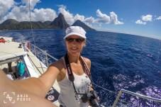 Catamaran ride near Pitons, St. Lucia, Caribbean