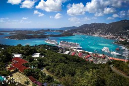 Gorgeous view down on St. Thomas island. Our ship is docked a little bit further out, you can see it's booty in the distance. =D