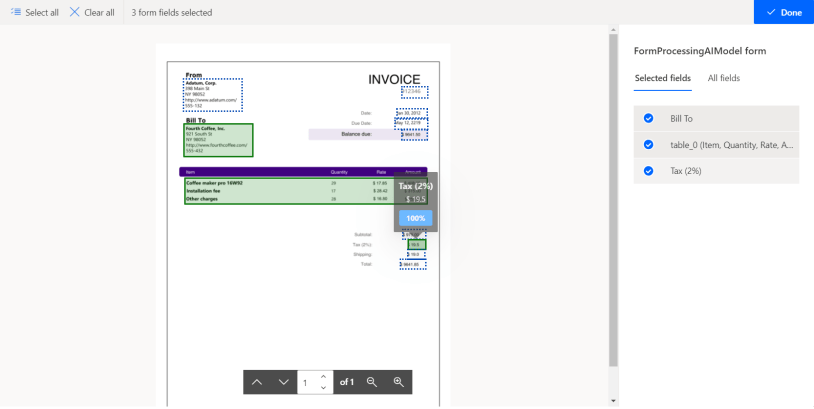 Select all  X Clear all  3 form fields selected  INVOICE  V Done  FormProcessingAlModel form  Selected fields All fields  Bill To  table_O (Item, Quantity, Rate,  Tax (2%)  ofl