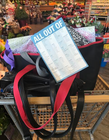 """My cart at the beginning of every grocery store trip: purse, reusable bags, and """"All Out Of"""" grocery list."""