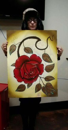 large rose tattoo painting watercolor