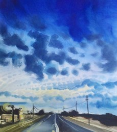 I painted this while waiting for a tow. The sky was just like that, there's no exaggeration in this painting whatsoever. It was dusk/twlight, the sun had JUST gone down and the town there was puny. The original of this has sold but prints are available, nice ones. You can find them at this secret link right here.