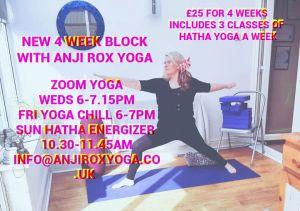 New  4 week block  Online Zoom Yoga  starts 3 June, 2020 6pm-7.15pm