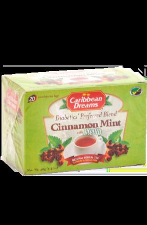 Caribbean Dreams Cinnamon Mint Tea (pack of 20 tea bags)   Diabetics Tea, Caffeine Free, Sugar Free