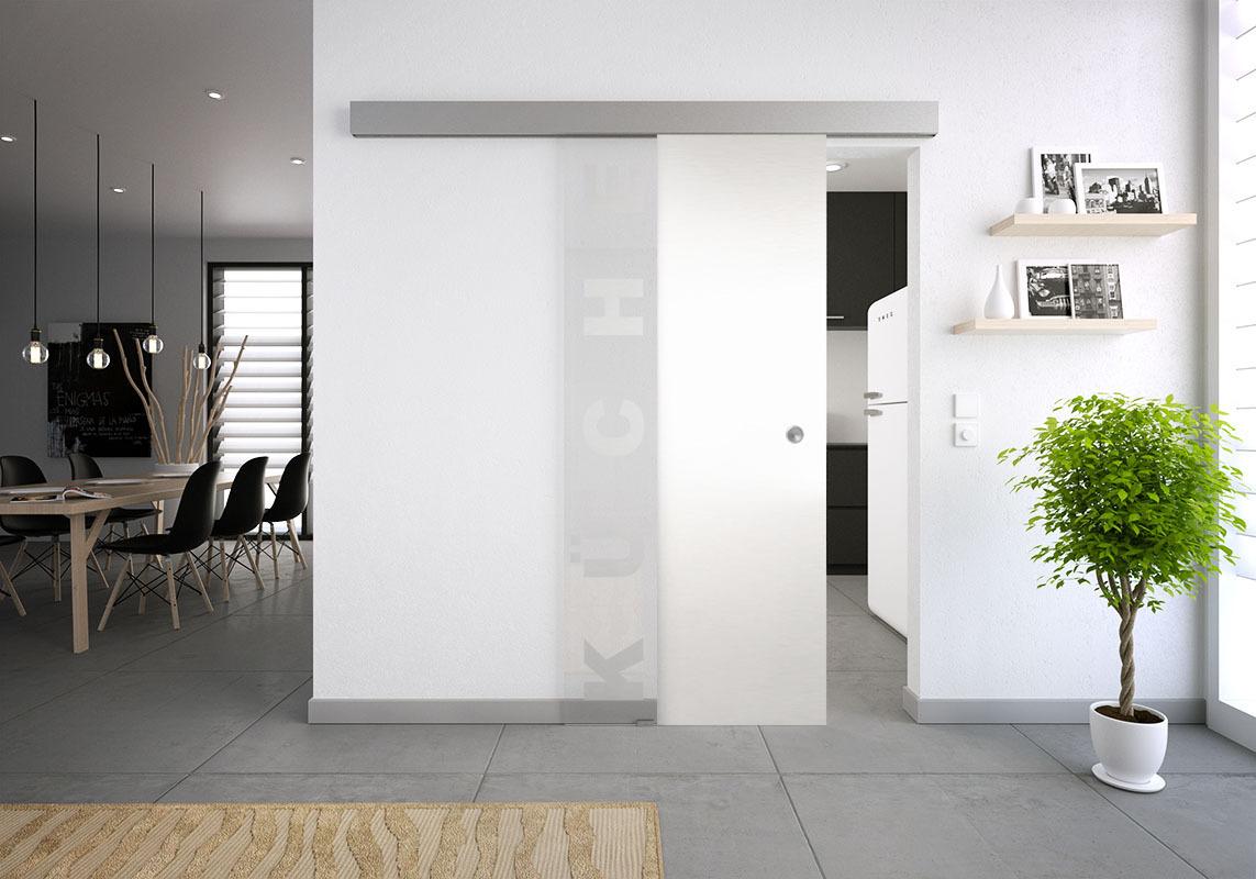 k che schiebet r glas milchglas k che glasschiebet r mit. Black Bedroom Furniture Sets. Home Design Ideas
