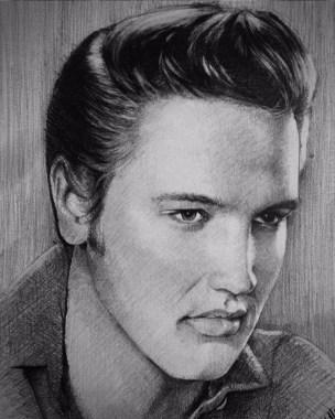 Karakalem Elvis Presley portre çizimi