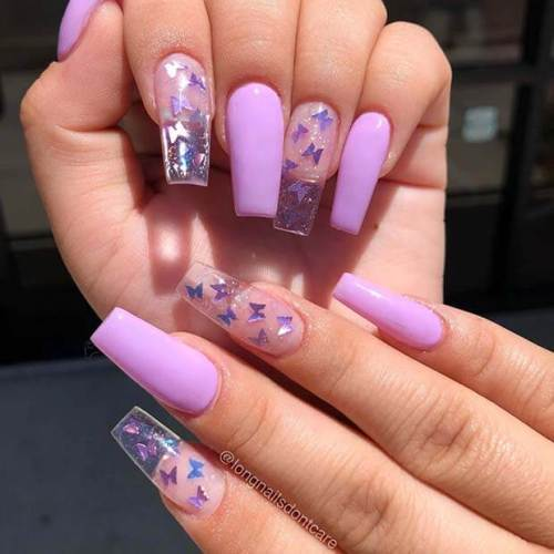 Clear Nail Art With Butterfly Design
