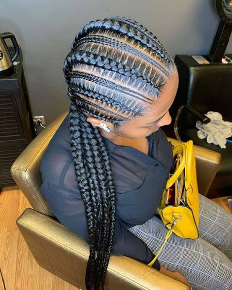 six feed braids with two mini braids on all sides