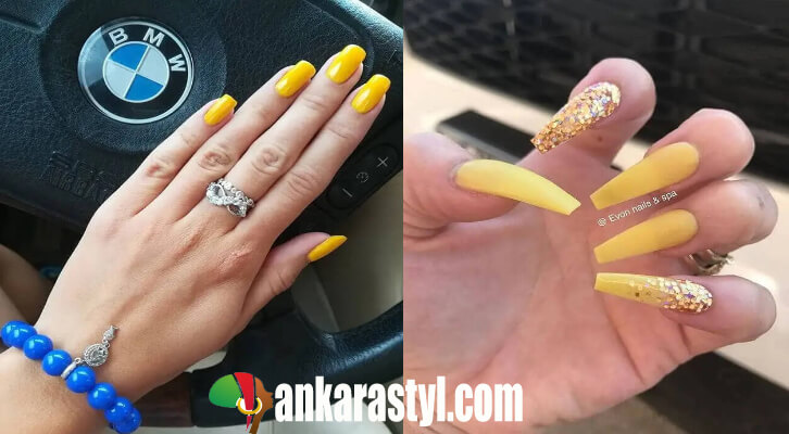 Yellow Acrylic Nails