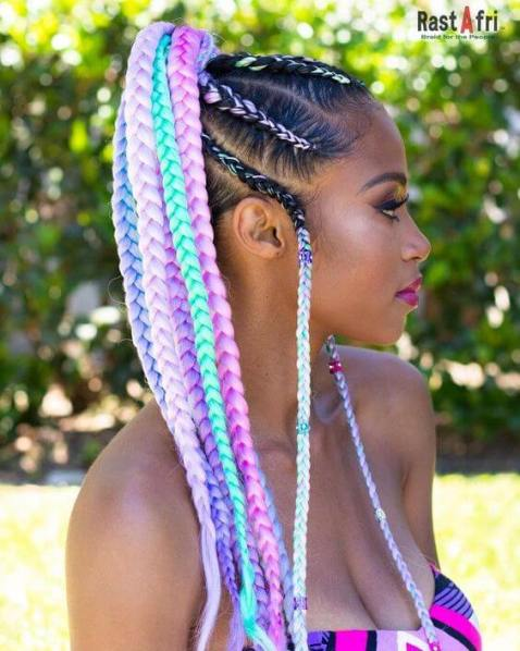 26 Awesome Rainbow Box Braids Hairstyles Ponytails To Copy Now