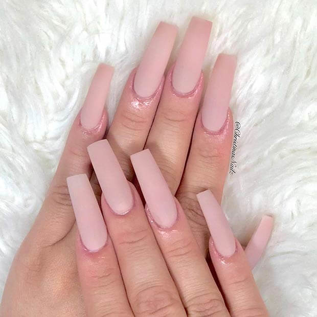 Nude Square Acrylic Nails