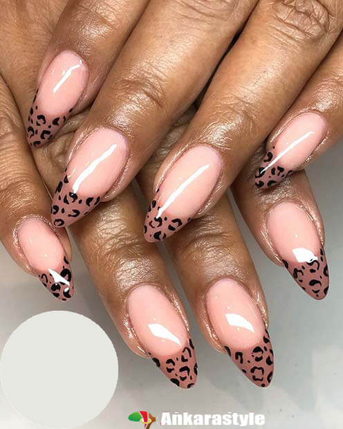 Leopard Nail Art With Nude Nails