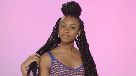 Passion Twists Braids with Top Braided Bun