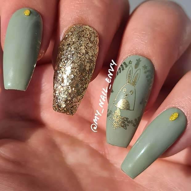 Unique olive green nails