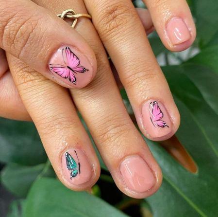 Butterflies in short nails