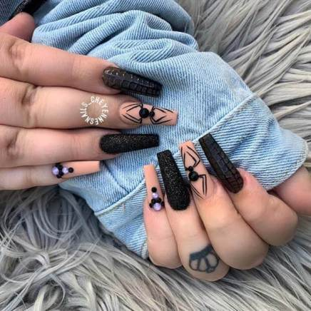 Black Halloween Nails with Rhinestones