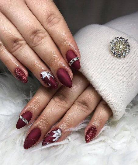 Burgundy Nails with Hearts