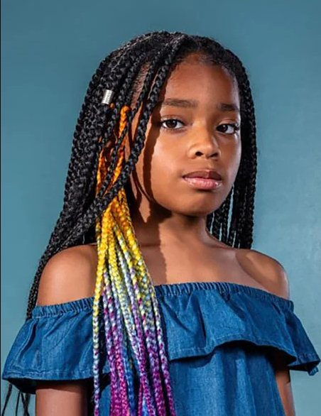 Kids Braided Hairstyles with Rainbow Box Braids 2021