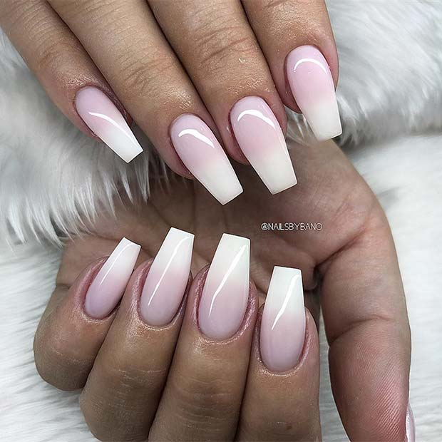 23+ Pretty Pink and White Ombre Nails to Paint Now